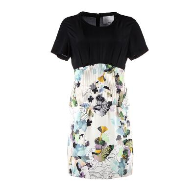 floral pattern color black dress multi